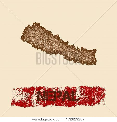Nepal Distressed Map. Grunge Patriotic Poster With Textured Country Ink Stamp And Roller Paint Mark,