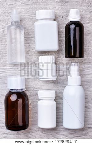 Bottles and containers for medicaments. Support your immune system.