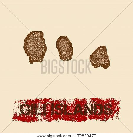 Gili Islands Distressed Map. Grunge Patriotic Poster With Textured Island Ink Stamp And Roller Paint