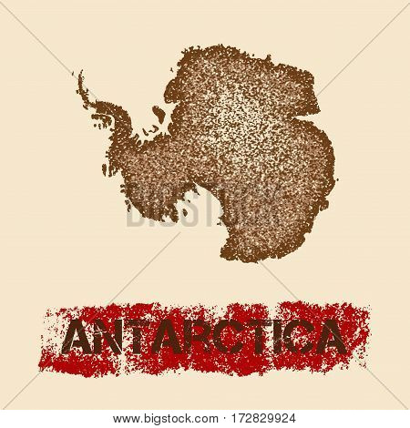 Antarctica Distressed Map. Grunge Patriotic Poster With Textured Country Ink Stamp And Roller Paint
