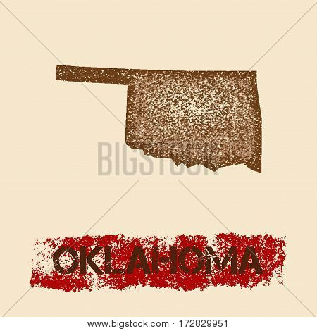 Oklahoma Distressed Map. Grunge Patriotic Poster With Textured State Ink Stamp And Roller Paint Mark