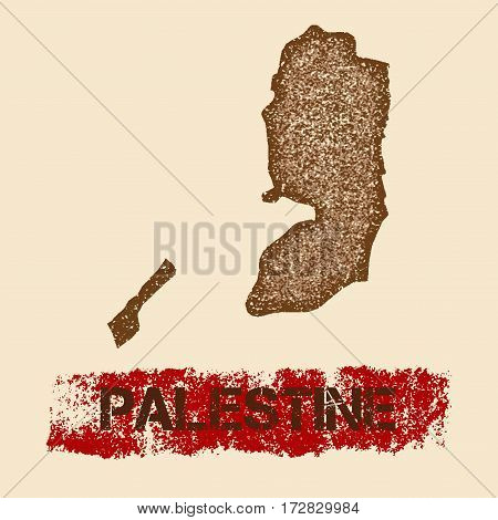 Palestine Distressed Map. Grunge Patriotic Poster With Textured Country Ink Stamp And Roller Paint M