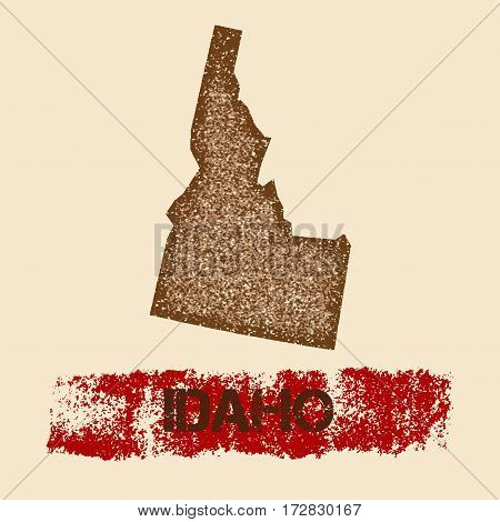 Idaho Distressed Map. Grunge Patriotic Poster With Textured State Ink Stamp And Roller Paint Mark, V