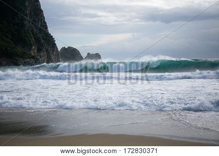 Sea Storm With Large Waves On Kleopatra Beach In Alanya