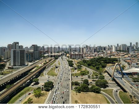 Aerial View of Radial Leste Avenue, in Sao Paulo, Brazil