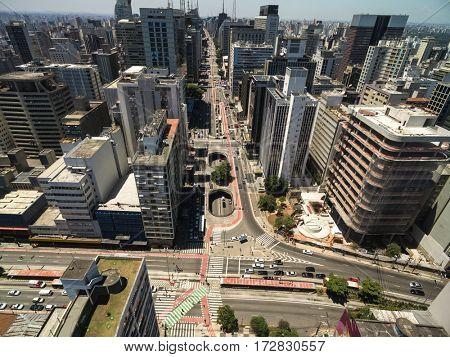 Aerial view of Paulista Avenue in Sao Paulo, Brazil