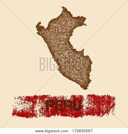 Peru Distressed Map. Grunge Patriotic Poster With Textured Country Ink Stamp And Roller Paint Mark,