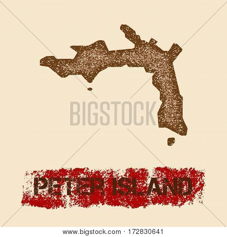 Peter Island Distressed Map. Grunge Patriotic Poster With Textured Island Ink Stamp And Roller Paint
