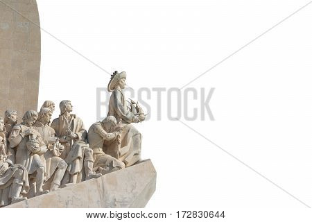 Monument to Discoveries along the Tagus River near Lisbon (isolated on white background with copy space)