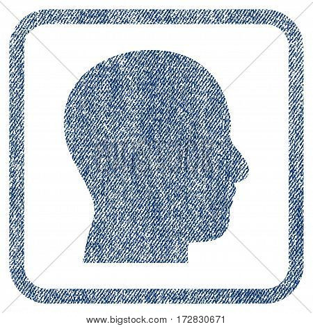 Head Profile vector textured icon for overlay watermark stamps. Blue jeans fabric vectorized texture. Symbol with dust design inside rounded rectangular frame.