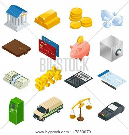 Isometric Business and Finance Icons. Flat 3d isometric illustration. For infographics and design.