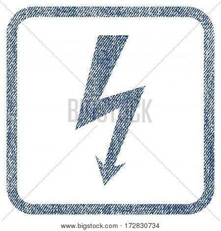 High Voltage vector textured icon for overlay watermark stamps. Blue jeans fabric vectorized texture. Symbol with unclean design inside rounded rectangular frame.