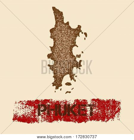 Phuket Distressed Map. Grunge Patriotic Poster With Textured Island Ink Stamp And Roller Paint Mark,