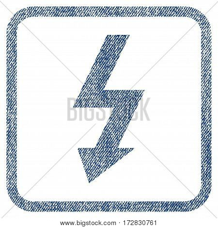 High Voltage vector textured icon for overlay watermark stamps. Blue jeans fabric vectorized texture. Symbol with scratched design inside rounded rectangular frame.