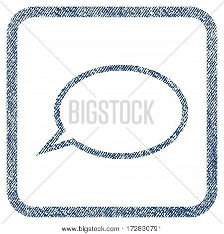 Hint Cloud vector textured icon for overlay watermark stamps. Blue jeans fabric vectorized texture. Symbol with dirty design inside rounded rectangle.
