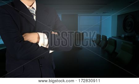 Confident Asian Businessman Arms Crossed And Stand Up In Meeting Room.
