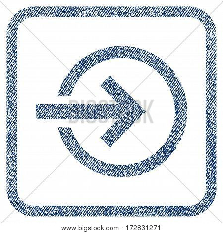 Import vector textured icon for overlay watermark stamps. Blue jeans fabric vectorized texture. Symbol with dirty design inside rounded rectangular frame.