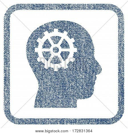 Intellect vector textured icon for overlay watermark stamps. Blue jeans fabric vectorized texture. Symbol with scratched design inside rounded rectangular frame.