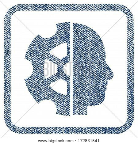 Intellect vector textured icon for overlay watermark stamps. Blue jeans fabric vectorized texture. Symbol with dirty design inside rounded rectangular frame.