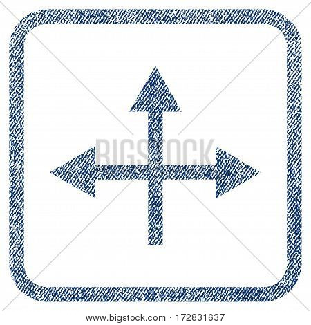 Intersection Directions vector textured icon for overlay watermark stamps. Blue jeans fabric vectorized texture. Symbol with unclean design inside rounded rectangle.