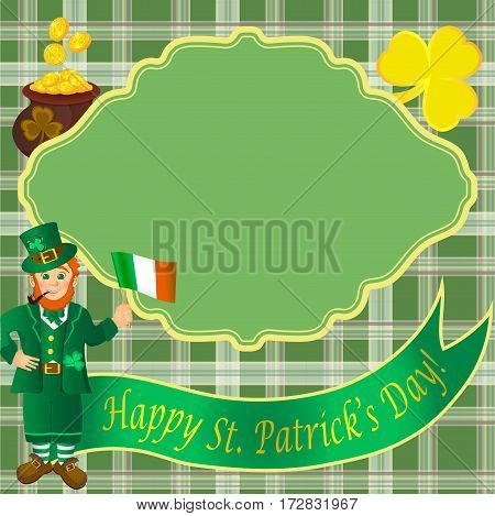 Postal card with leprechaun, Shamrock, Irish flag and gold coins on the background of the Irish cells. Gold lettering on green ribbon