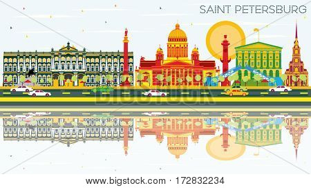 Saint Petersburg Skyline with Color Buildings, Blue Sky and Reflections. Business Travel and Tourism Concept. Image for Presentation Banner Placard and Web Site.