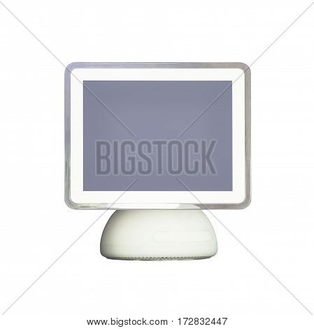 Old computer isolated on white with clipping path