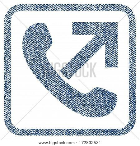 Outgoing Call vector textured icon for overlay watermark stamps. Blue jeans fabric vectorized texture. Symbol with dirty design inside rounded rectangular frame.