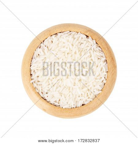 Raw white rice in wooden dish isolated on white background. save clipping path.