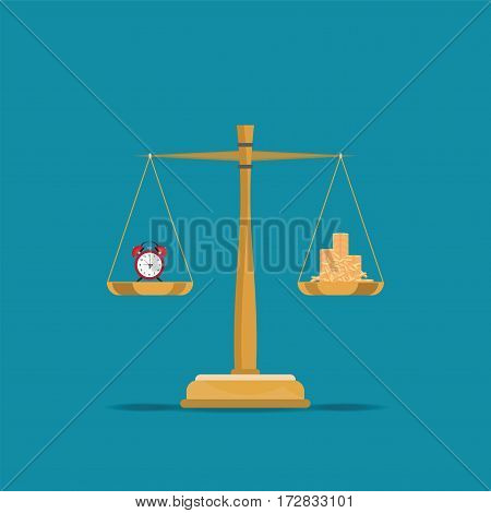 Balance time and money on scales Current value of the world conceptual flat design vector illustration.
