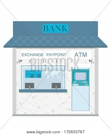 Bank counter currency exchange service and atm cash box Banking and finance concept design element in flat style Vector illustration.