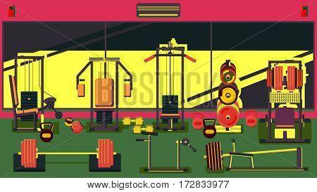Flat colorful gym Running Workout indoor illustration