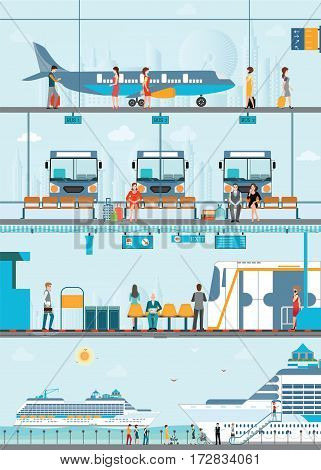 Set of public passenger transport by Bus cruise ship skytrain and airplane conceptual of transportation vector illustration.