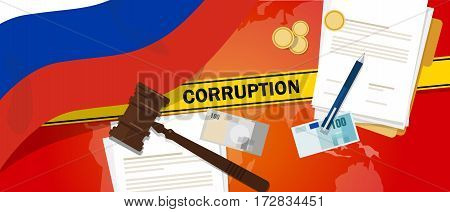 Russia fights corruption money bribery financial law contract police line for a case scandal government official vector