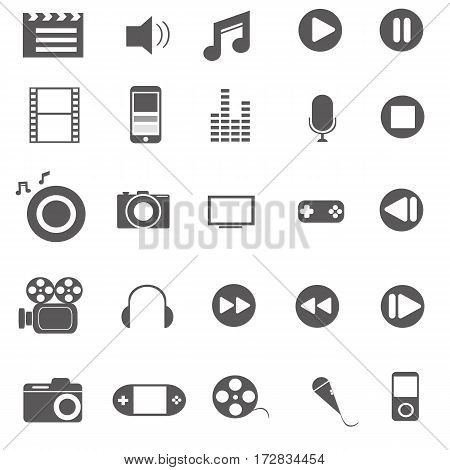 media icons on isolated white vector illustration