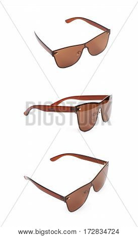 Pair of brown shade sunglasses isolated over the white background, set of three different foreshortenings