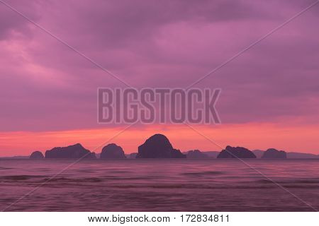 Sunset at Khlong Muang Beach Krabi Thailand