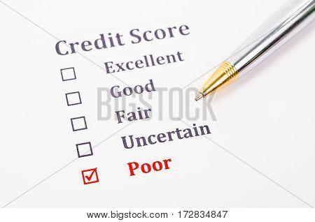 The Credit score form with pen. Business concept.