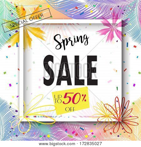 Spring Sale banner, Sale Poster, Sale Flyer, Sale special offer Vector. Sale up to fifty percent off, Vector illustration. Hand Drawn floral background.