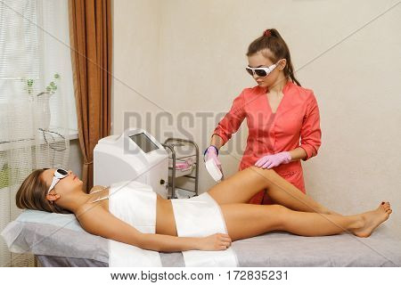 Laser epilation hip girl. Hardware cosmetology. Cosmetic procedures. Spa.