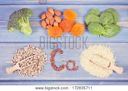 Vintage Photo, Products And Ingredients Containing Calcium And Dietary Fiber, Healthy Nutrition