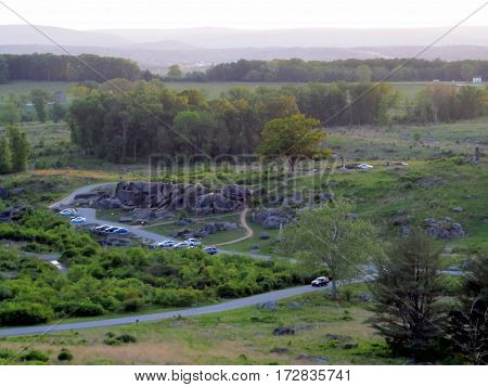 Aerial Elevated View of Devil's Den as seen from Little Round Top, Getysburg national military park, Getysburg Pennsylvania
