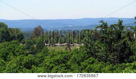 Getysburg National Cemetery Ariel Elevated view from Culp's Hill, Getysburg national military park, Getysburg Pennsylvania