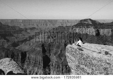 The wanderer at South Rim, Grand Canyon, Arizona