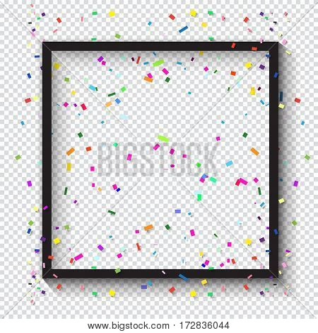 Black picture frame and confetti. Colorful confetti background. Carnival festive background. Birthday Holiday pattern Vector illustration