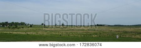 Panoramic view of Cemetery Ridge, the angle and the high water mark of the confederacy, Getysburg national military park, Getysburg Pennsylvania