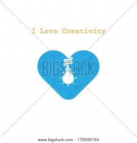 Creative light bulb and Heart sign vector design banner template.Light bulb icon with heart as inspiration concept.Business and industrial creative logotype symbol.Vector flat design illustration