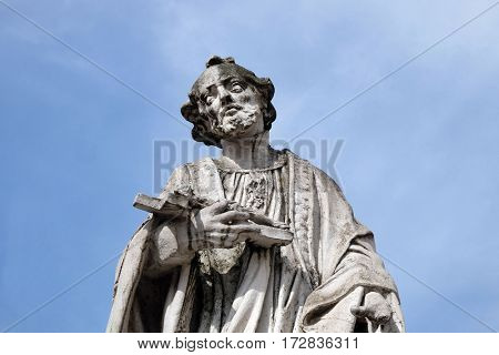 MARIBOR, SLOVENIA - APRIL 03: Saint Francis Xavier statue, Plague column at Main Square of the city of Maribor in Slovenia, Europe. Historical religious sculpture, April 03, 2016.