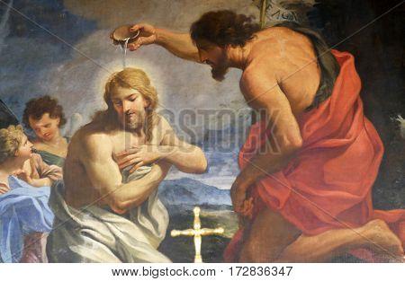 ROME, ITALY - SEPTEMBER 03: The Baptism of Christ in Chapel of St John the Baptist, Basilica di Sant Andrea delle Fratte, Rome, Italy on September 03, 2016.