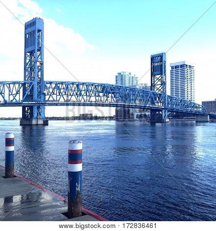Downtown Jacksonville, FL bridge over the St. John's River.